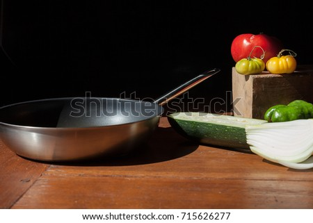 cooking pan with ingredients