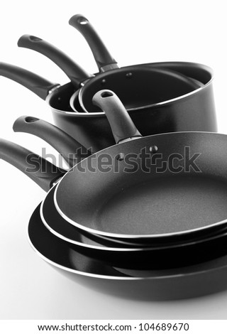 cooking pot and frying pan - stock photo