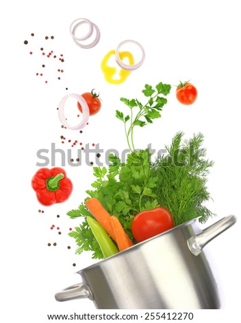 Cooking pot with fresh vegetable ingredients isolated on white - stock photo