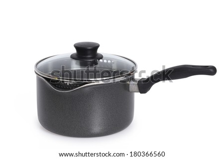 Cooking pot with glass lid on white  - stock photo