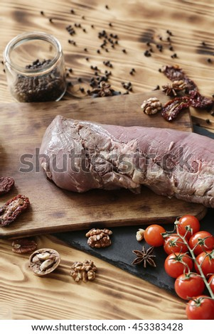Cooking, preparation. Raw meat on the table