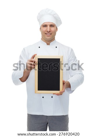 cooking, profession, advertisement and people concept - happy male chef cook showing and holding blank menu board - stock photo