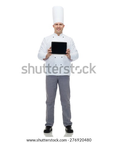 cooking, profession and people concept - happy male chef cook showing tablet pc computer black blank screen - stock photo