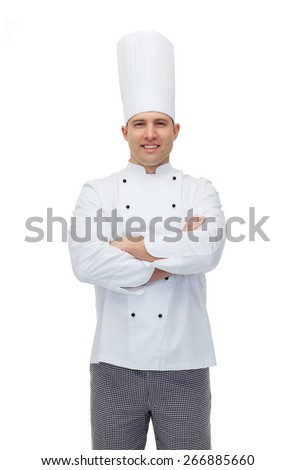 cooking, profession and people concept - happy male chef cook with crossed hands - stock photo