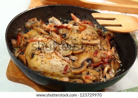 Cooking Roasted Chicken with Mushrooms and Bacon