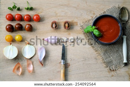 cooking soup with tomatoes - stock photo