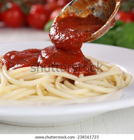 Cooking spaghetti noodles pasta food serving tomato sauce Napoli on plate