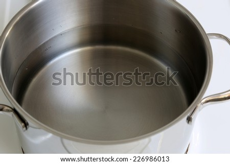 Cooking spaghetti noodles pasta meal: pot with water on a stove