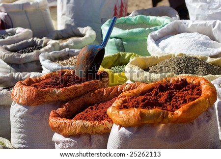 Cooking spices on sale in a city market at Marrakesh, Morocco - stock photo