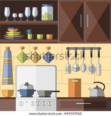 Cooking tools. Hand-drawn design elements. illustration with items for cook - stock photo