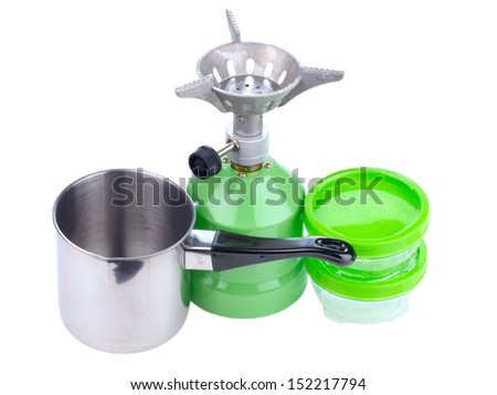 Cooking tourist equipment during camping