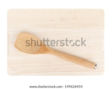 Cooking utensil on cutting board. Isolated on white background - stock photo