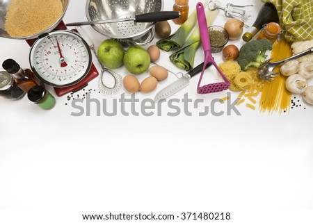 Cooking utensils, Food, Kitchen with Space for Text - stock photo