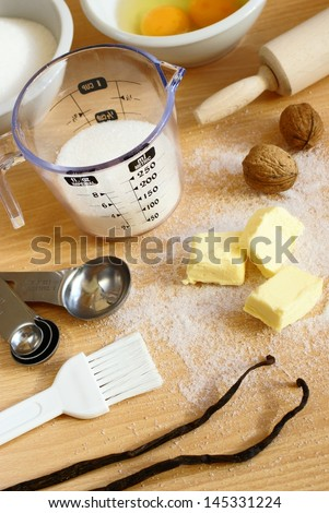 Cooking utensils, spices and food ingredients. - stock photo