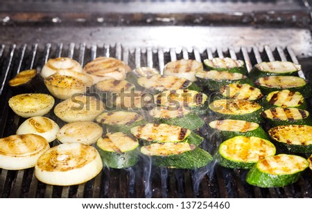 cooking vegetables on the grill in the restaurant - stock photo