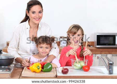 Cooking with children - stock photo