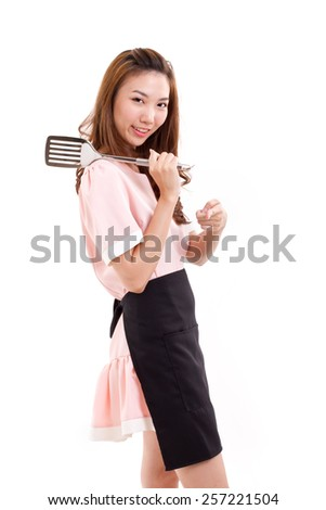 cooking woman pointing at you - stock photo