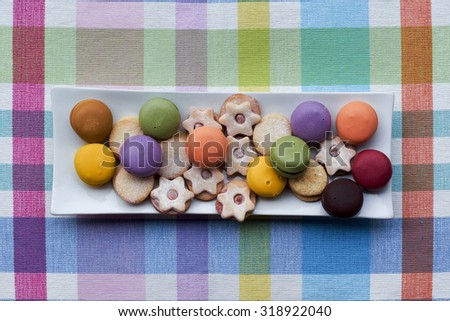 Cookis and macaroons. Assorted flavors. - stock photo