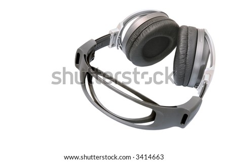 cool big multimedia stereo headphones, isolated over white background - stock photo