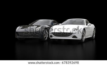 Smoke White Super Sports Car Black Stock Illustration - Black cool cars