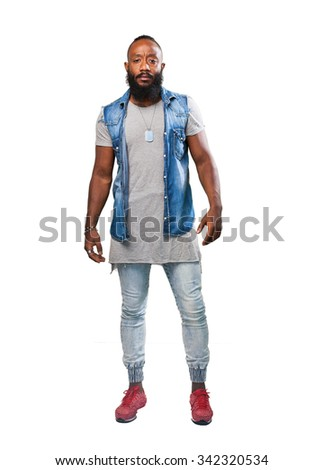 cool black man full body - stock photo