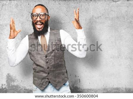 cool black man wearing various glasses - stock photo