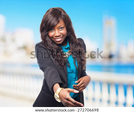 cool black-woman greeting sign - stock photo