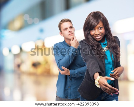 cool black-woman greeting sign