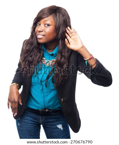 cool black-woman listening sign - stock photo