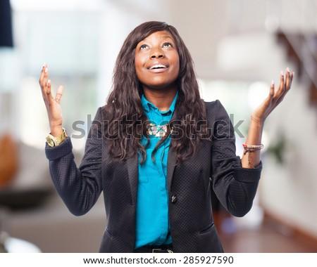 cool black-woman praying - stock photo