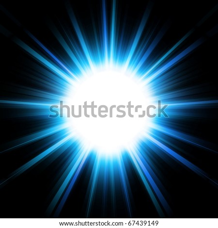 Cool blue explosion sun or star - stock photo