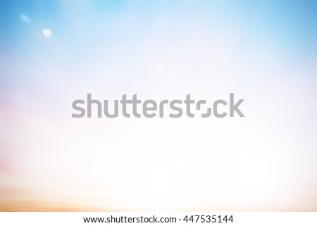 Cool blur heaven clouds sky background. Soft focus blue sky white sunlight day time backdrop. Abstract blurred of sunlight. Open view out windows. Cyan pastel gradient backdrop. Blurry nature summer. - stock photo