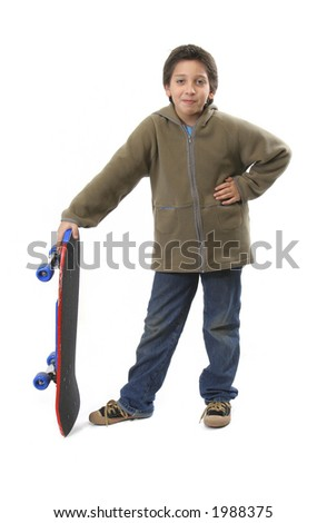 Cool boy posing with his skate. Full body, white background.