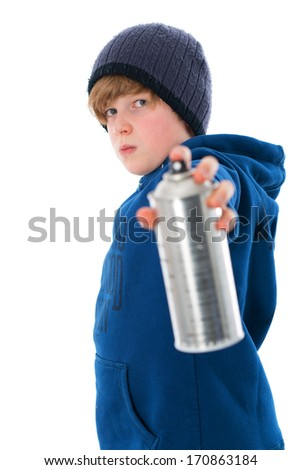 cool boy with aerosol can - stock photo