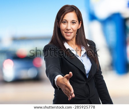 cool business woman greeting sign