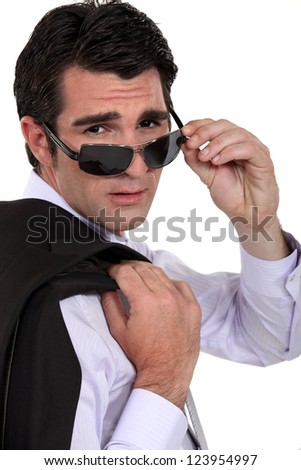 Cool businessman wearing sunglasses
