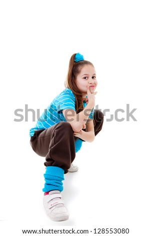 cool confident kid child or girl - stock photo
