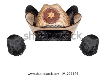 cool cowboy dog hiding  behind white blank banner or placard - stock photo