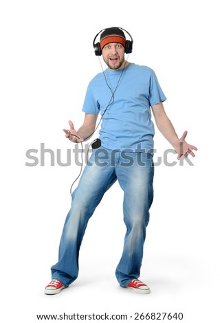 Cool dance man in a cap and headphones on white background. File contains a path to isolation.  - stock photo