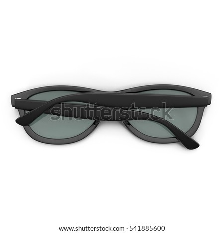 Cool folded sunglasses isolated on white. Top view. In black plastic frame. 3D illustration