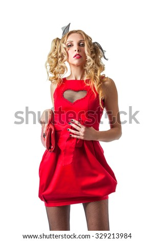 Cool funny blonde woman in red dress ready for party or night out - stock photo