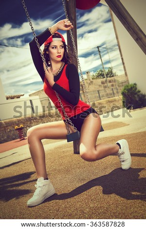 cool girl on a playground - stock photo