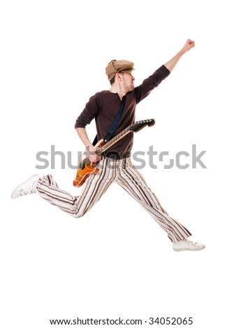 Cool guitarist jumping in excitement isolated on white background - stock photo