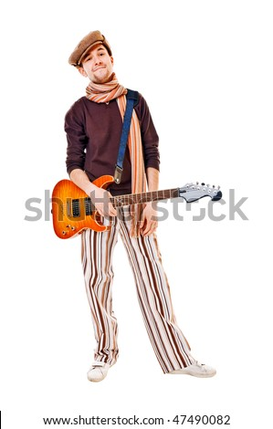 Cool guitarist with his instrument isolated on white