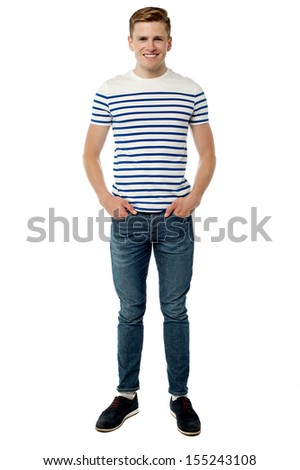 Cool guy in trendy casuals over white