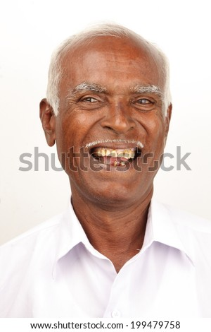 Cool & happy Asian/Indian old man. - stock photo