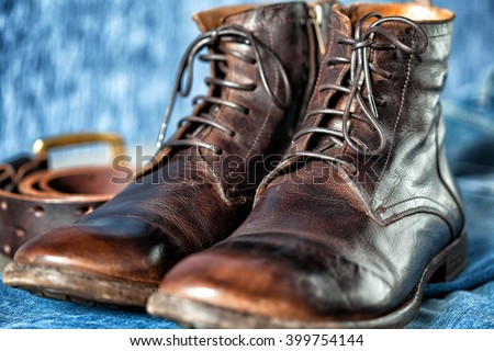 cool high boots close up. Close up of a new pair of brown leather dress shoes - stock photo