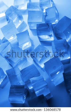 cool ice background in blue - stock photo