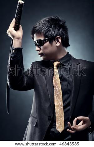 Cool japanese with samurai sword fashion. - stock photo