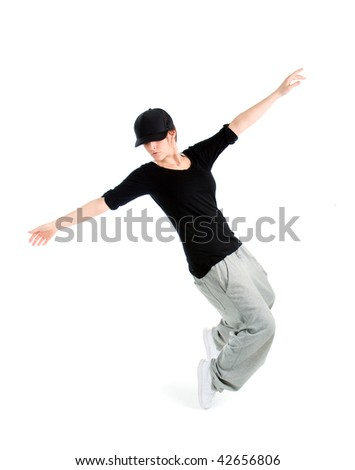 cool looking dancer posing on white background